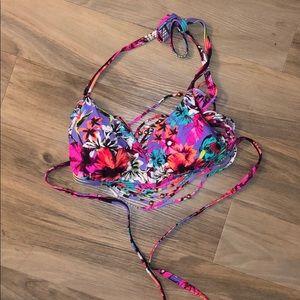 EUC loose back beaded bikini top